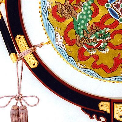 雅楽太鼓(朱面飾り金具付き)アップ